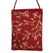 Yair Emanuel Flower Design Maroon Embroidered Bag