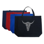 Large Black Cow Skull Tote Bag - Created using some of the greatest all time country songs