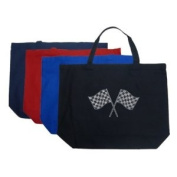 Large Navy Race Flags Tote Bag - Created using list of NASCAR national series race tracks