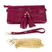 Genuine Leather Body Shoulder Bag Baguette Wristlet Remove Strap Clutch Purple