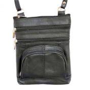 Genuine Leather Black Shoulder Round Pocket Cross Body Bag
