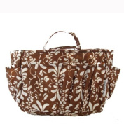The Plaid Purse Bag Organizer - Brown Flowers