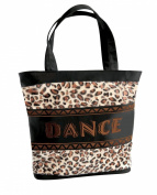 Danshuz Womens Girls Embroidered Jungle Cat Leopard Dance Bag Tote
