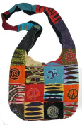 AT39 Cotton Patch Work Om, Peace & Spiral Cotton Knitted Shoulder Bohemian Gypsy Bag Nepal