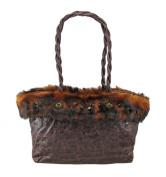 Distressed Brown Vinyl Faux Fox Fur Jeweled Handbag