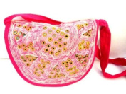 Boho Cotton Handbag, Indian Shoulder Bag Pink Purse Mirrors -Handmade