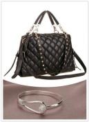 Black Trendy Diamond Quilted Versatile Studded Straps Office Tote Hobo Top Double Handle Satchel Handbag Purse Shoulder Bag