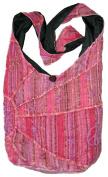 Pink Embroidered Peace and Sunrise Sling Purse Handbag