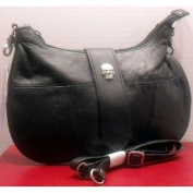 Skull Accent Solid Leather Purse - Shoulder Strap & Hip Style Bag