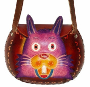 A Color Rabbit Design, Small Size Shoulder/cross-body Bag. Hand-made By Genuine Cowhide Leather. Unique.