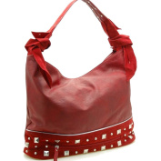 Dasein Designer inspired hobo bag with studs -Burgundy Red