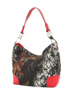 Mossy Oak Red Western Camouflage Crocodile Trim Hobo Purse
