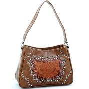 Dasein Studded western shoulder bag w/ floral embossed pattern -Brown