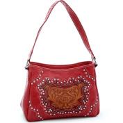 Dasein Studded western shoulder bag w/ floral embossed pattern -Red