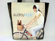 Audrey Hepburn Retro Bicycle Large Tote Shoulder Bag Purse Handbag