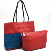 Dasein 2-in-1 Two Tone Tote w/ Front Pouch Pockets -Orange/Blue