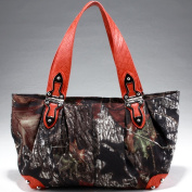 Mossy Oak Women's Camouflage Shoulder Bag With Hinge Handles & Croco Trim -Camouflage/ Orange
