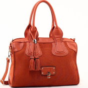 Dasein Women's Classic Faux Leather Shoulder Bag w/ Textured Front & Tassel -Orange