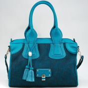 Dasein Women's Classic Faux Leather Shoulder Bag w/ Textured Front & Tassel -Blue