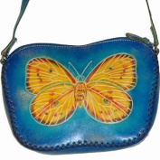 Butterfly and Sunflower Pattern, Real Leather Shoulder Bag, Beautiful Blue, 100% Handmade