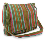 Cotton and leather shoulder bag, 'Maya Rainbow'