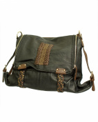 Black Dual Zip Front Synthetic Leather Buckle Hand Bag