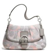 Coach Soho Optic Linen Flap Shoulder Bag Handbag Purse 19238 Multi