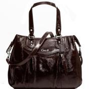 New Authentic COACH Mahogany Brown Patent Leather Ashley Shoulder Bag 20451 w/COACH Receipt