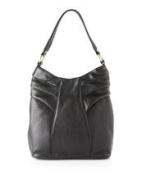 BODHI Black Pleated Hobo Shoulder Bag