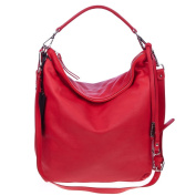 GIANNI CHIARINI Italian Made Red Leather Slouchy Hobo Shoulder Bag