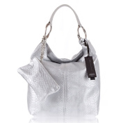 GIANNI CHIARINI Italian Made SIlver Snakeskin Embossed Leather Slouchy Designer Hobo Bag with Pouch