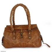 Leather handbag, 'Golden Days'