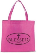 "Womens 33cm Magenta Pink ""Blessed"" w Budded Cross Recycled Nylon Purse Tote Bag"