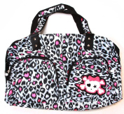 Clover Two Frony Pocket Hand Bag - Pink Cheetah Animal Print with Cute Skull