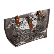 [Lucky Gray] Leopard Double Handle Leatherette Satchel Bag Handbag Purse Casual Styling