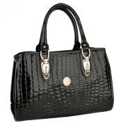 GISELLE Black Faux Crocodile Print Synthetic PU Leather Top Double Handle Bowling Style Office Tote Satchel Handbag
