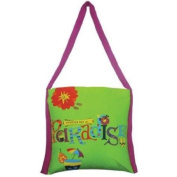 "39.4cm Green with Purple Strap ""Paradise"" Tropical Motif Tote Bag"