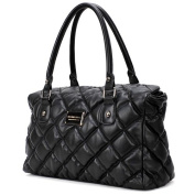 GIOVANNA Black Diamond Quilted Top Double Handle Doctor Style Satchel Office Tote Handbag Purse