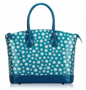 Ladies Blue Teal White Patent Polka Dot Designer Fashion Handbag Tote - KCMODE