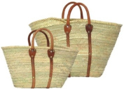 Hand Woven Moroccan Straw Shopping Bags w/ Brown Leather Handles & Strips, Set/5.1cm Lx12.7cm Wx33cm H