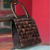 Coconut shell handbag, 'Modern Autumn'