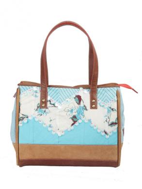 Ivory Tag Sequined Hand Emroidered Turq Zig-Zag Handbag