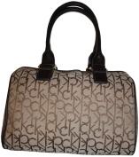 Women's Calvin Klein Purse Handbag Signature Logo Satchel Khaki/Brown