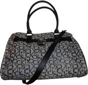 Women's Calvin Klein Purse Handbag Signature Logo Tote White/Black/Silver
