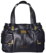 Michael Kors Black Leather Beverly Large Drawstring Satchel Tote Bag Handbag Purse