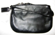 COACH Leather Small Wristlet - BLACK #45651