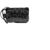 Coach Signature Stripe Stitch Patent Wristlet - Medium - Silver / Black