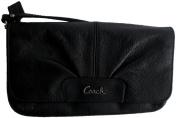 Coach Black Leather Large Flap wristlet