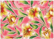 Durable Hand Woven 100% Cotton Silk Screen Lily Print Placemat Pink 30.5cm x 45.7cm Set of 6