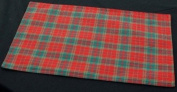 Pair of Table Placemats (reversible) in a Red and Green Plaid Design derived from Scottish Tartan.
